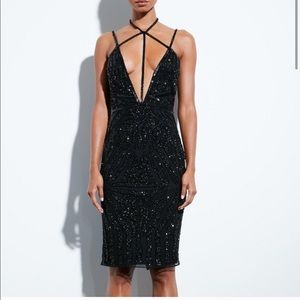 Missguided peace and love black sequin midi dress